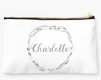 Personalized Pouch, custom makeup bag, bridesmaid pouch, custom name pouch, floral name pouch, grey white pouch, initial pouch, monogram