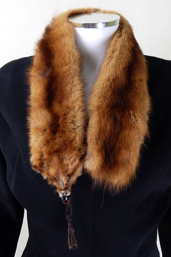 Original vintage 1940s 100 brown mink fur stole for Kunstleder fur stuhle