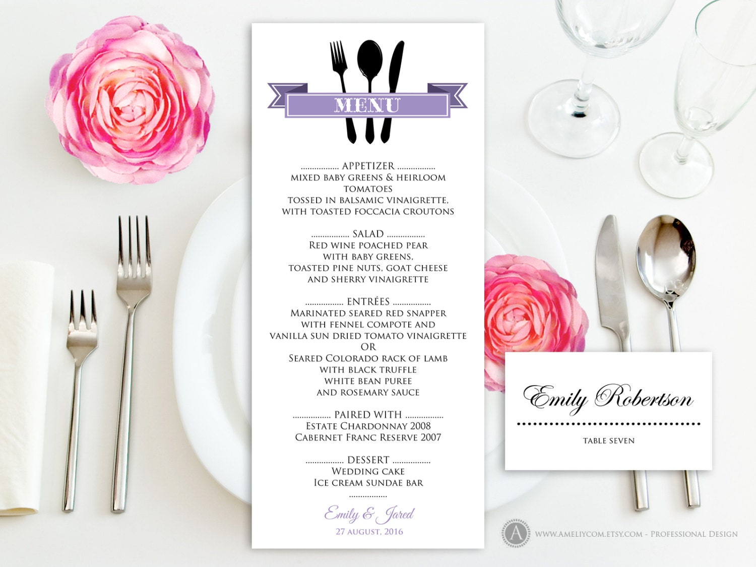 Printable Dinner Menu Lilac Free Place Card for Wedding /