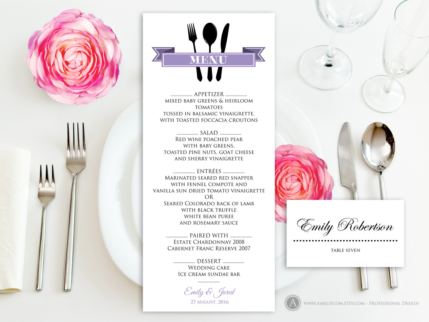 Printable Dinner Menu Lilac Free Place Card For Wedding - Wedding place card templates free download