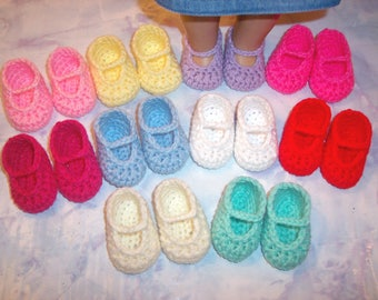 10 Pairs Of Hand Crochet Mary Jane Shoes For The American Girl Doll