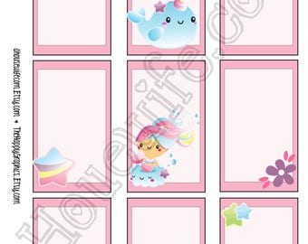 Narwhal 2, Happy Planner stickers [294] , Full box, A5 PDF, Instant download
