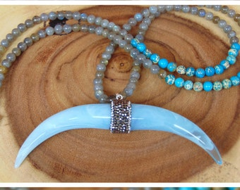 Boho Crescent Horn Necklace, Gemstone Necklace, Beaded Horn Necklace, Boho Double Horn Necklace, Boho Necklace, Boho Jewelry