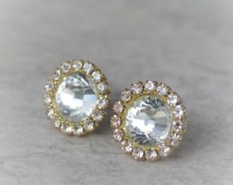 Gold Crystal Earrings, Gold Bridesmaid Earrings, Gold Bridesmaid Jewelry, Crystal Gold Earring Gift, Gold Bridesmaid Gift, Wedding Jewelry