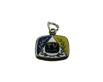 TV GUIDE Logo Sterling Charm/ Vintage Silver Broadcast Service Tag/Tiny Collectors Commemorative Charm/ Yellow White Blue Hard Enamel  Charm