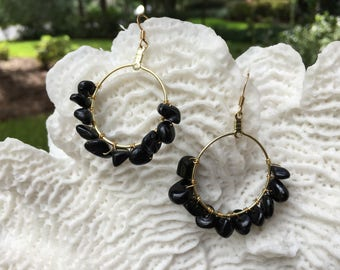 Natural Black Tourmaline stone gold plated hoop earrings, anniversary jewelry, date night, elegant jewelry
