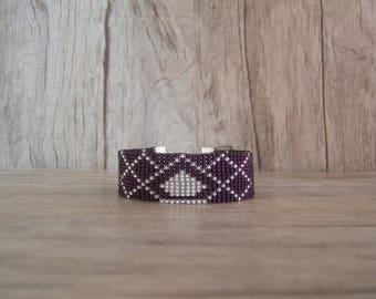 Woven bracelet, bracelets for women girl patterned geometric diamonds, diamond plum / Amethyst / Mauve / purple and silver