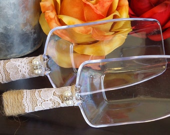 Clear Plastic Rustic Lace Wedding Scoops
