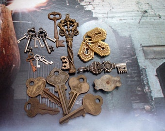 Keys Vintage and Reproduction Real and Fantasy 21 Assorted Keys and Keyholes + Vintage Orphan Cover