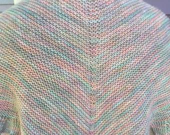 Hand knit shawl, merino