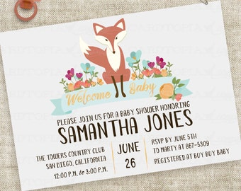 Fox Baby Shower Invitation with Gender Neutral Floral and Banner Watercolor Lettering Custom Digital File with Professional Printing Option