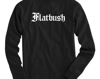 LS Flatbush Tee - Gothic Brooklyn Long Sleeve T-shirt - Men and Kids - S M L XL 2x 3x 4x - Brooklyn Shirt, NYC, New York City - 4 Colors