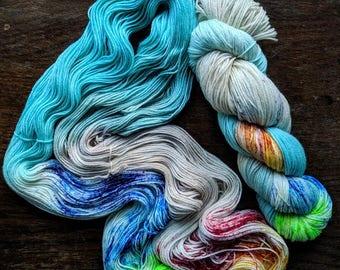 Rainbow Bright Hand Dyed Sock Yarn 100g Merino Wool Speckled Skein