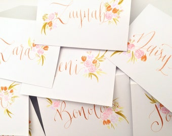 Rose Gold and Floral Wedding Place Name Card Calligraphy - Eco and Vegan Friendly