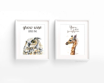 Nursery Prints Animal Nursery Art Prints Giraffe Owl Grow Wise Little Owl You Are My Sunshine Giraffe Decor Baby Animals Watercolor Giclee