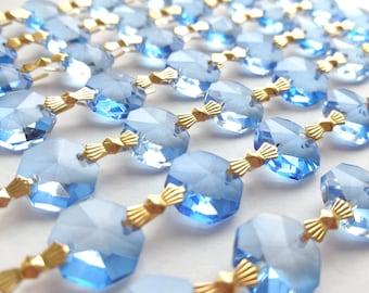 5 cobalt blue 50mm french chandelier crystals pendalogue 1 yard light blue chandelier crystals for wedding decor suncatchers mozeypictures Gallery