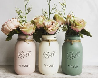Mason jar decor. Set of 3 large painted mason jars. Mason ball jars. Home decor or as a gift. A table centrepiece.