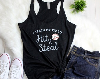 Funny Baseball Mom Tanks - I Teach My Kid to Hit and Steal - Baseball Life Summer Nights Racerback Tank