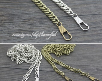 1pc 40cm(15.7''),120cm(47.2''), Bronze, Gold, Silvery ,Gunmetal chains for purse & bag 6MM Thicknes