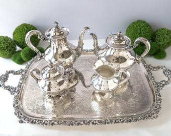 Vintage Silver Plate Coffee Tea Service Set With Tray Reed Barton Regent 5600