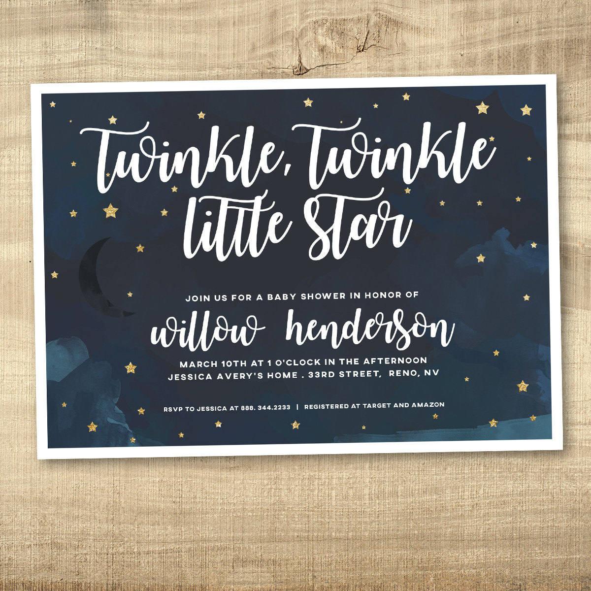 Twinkle Twinkle Little Star Baby Shower Invitation Navy Baby