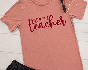 Proud To Be A Teacher Graphic Tee Mauve..Back To School Tee..Teacher Shirt...Teacher Gifts..Cute Mauve T-Shirt