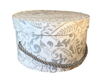 Small Hat Box in Grey Paisley Floral Fabric, Ready to ship French Cottage Decor, Fabric Covered Box, Lid, Keepsake Box, Decorative Box
