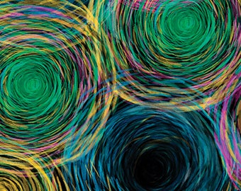 All About Color from Kanvas Studios - Full or Half Yard Colored Pencil Scribbles on Black