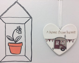 A home from home - maroon vintage caravan - hand painted ceramic heart