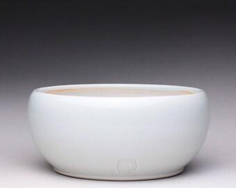 handmade porcelain bowl, ceramic dish, small pottery bowl with turquoise celadon and white shino glazes