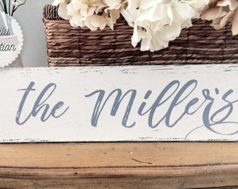 Family Name Sign, Personalized Wedding Name Sign, Last Name, Farmhouse Style, Beach Decor, Anniversary Gift, Couple Gifts, Wood Signs, white