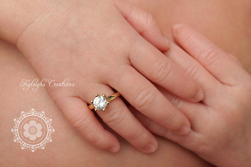 Gold newborn ring diamond ring baby ring photography prop