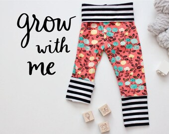 Grow With Me Pants - Baby Toddler Leggings - Coral Floral Stripes