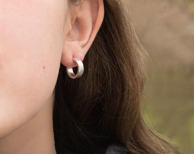 14 X 4mm Sterling Silver Hoop Earrings, Shiny