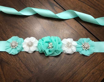 Mint and White flower maternity sash/ Baby Shower Sash