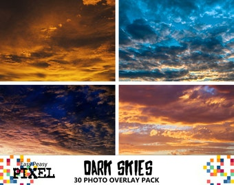 DARK SKIES OVERLAYS, Photoshop Overlays, Photoshop Overlay, Skies Overlays, Sky Overlays, Photoshop Skies, Cloud Overlays, Weather