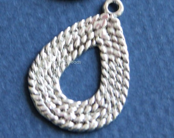 4 pcs of antique Silver plated  teardrop 29x20mm