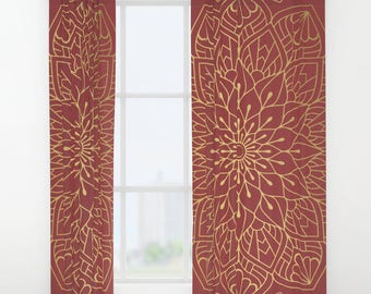 Gold Mandala On Cherry Red Window Curtains, Boho Curtains, Gold Window Curtains, Mandala Window Curtains, Gold Mandala Curtains, Boho Wondow