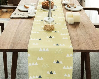 Yellow base triangle village linen table runner, thanksgiving table runner, party table runner, fabric table runner, holiday table runner