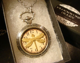 Dragonfly Clock Pocket Watch Style Pendant Necklace (2113)