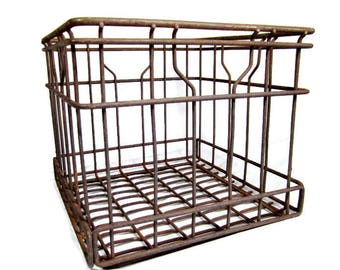 Vintage METAL MILK CRATE /  Wire Dairy Bottle Carrier Crate