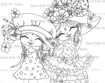 INSTANT DOWNLOAD digitale Digi Stamps grote Eyed Besties Big Head poppen fancy broek alles over de celtelefoons Digi door Sherri Baldy