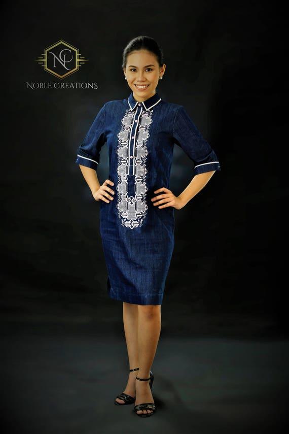 Moderne FILIPINIANA Kleid Denim BARONG TAGALOG für ihre