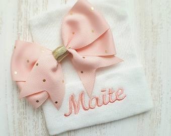 Newborn girl personalized hospital hat- baby girl hospital hat, light peach baby hat, baby girl hat, newborn beanie, newborn hat, baby gift