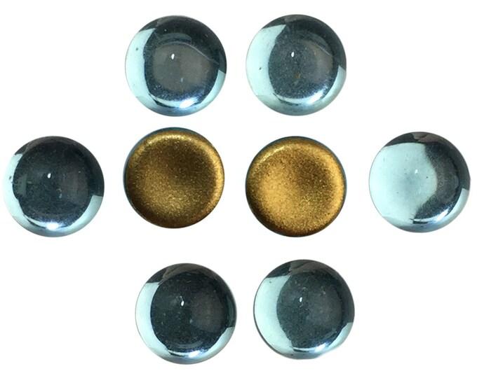 Vintage Aqua Glass Foiled Cabochons 7mm (8) cab2003J
