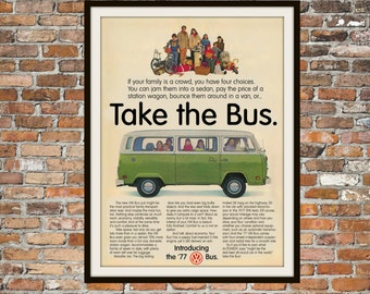 Volkswagen Bus VW Bus 1977 Rendition of Advertisement Print Vintage Advertising - Vintage Volkswagen - Drawing Print Art Item 0121