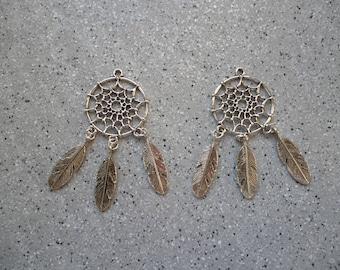Set of 2 charms dream catcher, Dreamcatcher dream catcher pendant, silver feathers silver metal