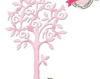 """Die cut metal Elites Cottage Cutz """"Pink tree"""" tree template"""
