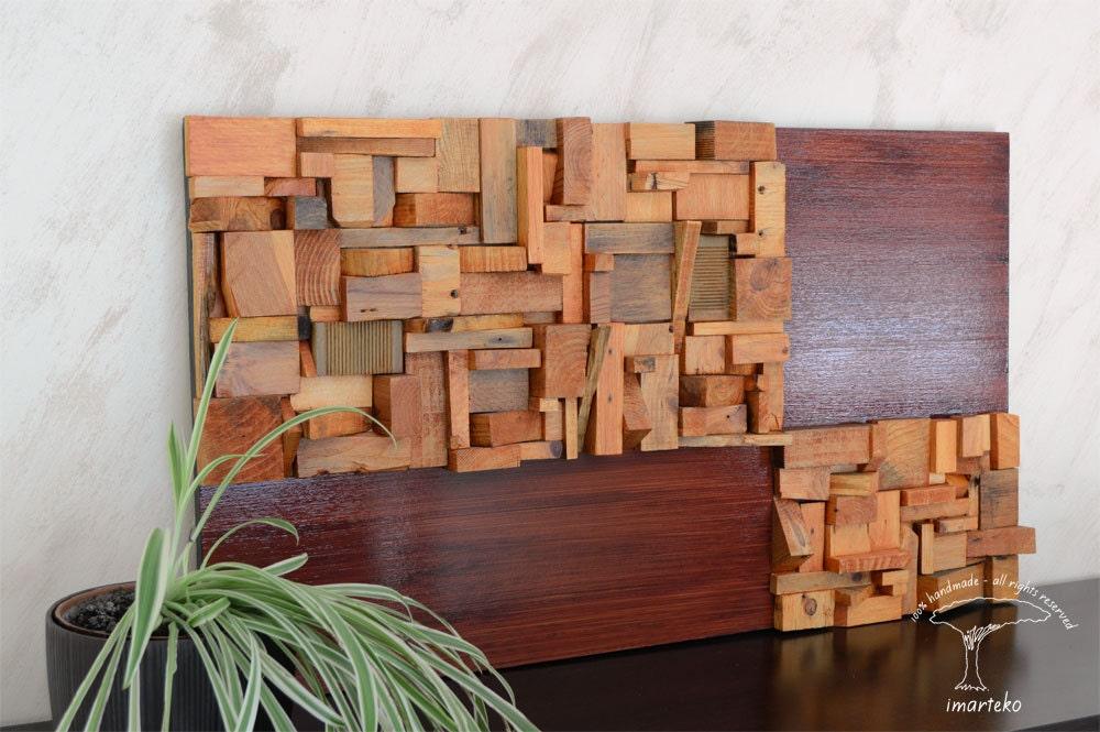 Escultura de pared decoraci n de la pared madera recuperada - Decoracion en madera rustica ...