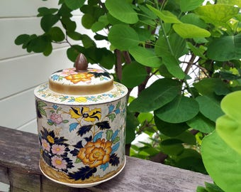 Murray Allen Regal Crown Tin, Vintage Floral Metal Canister,      Confection Tin, Mid Century Flower Tin